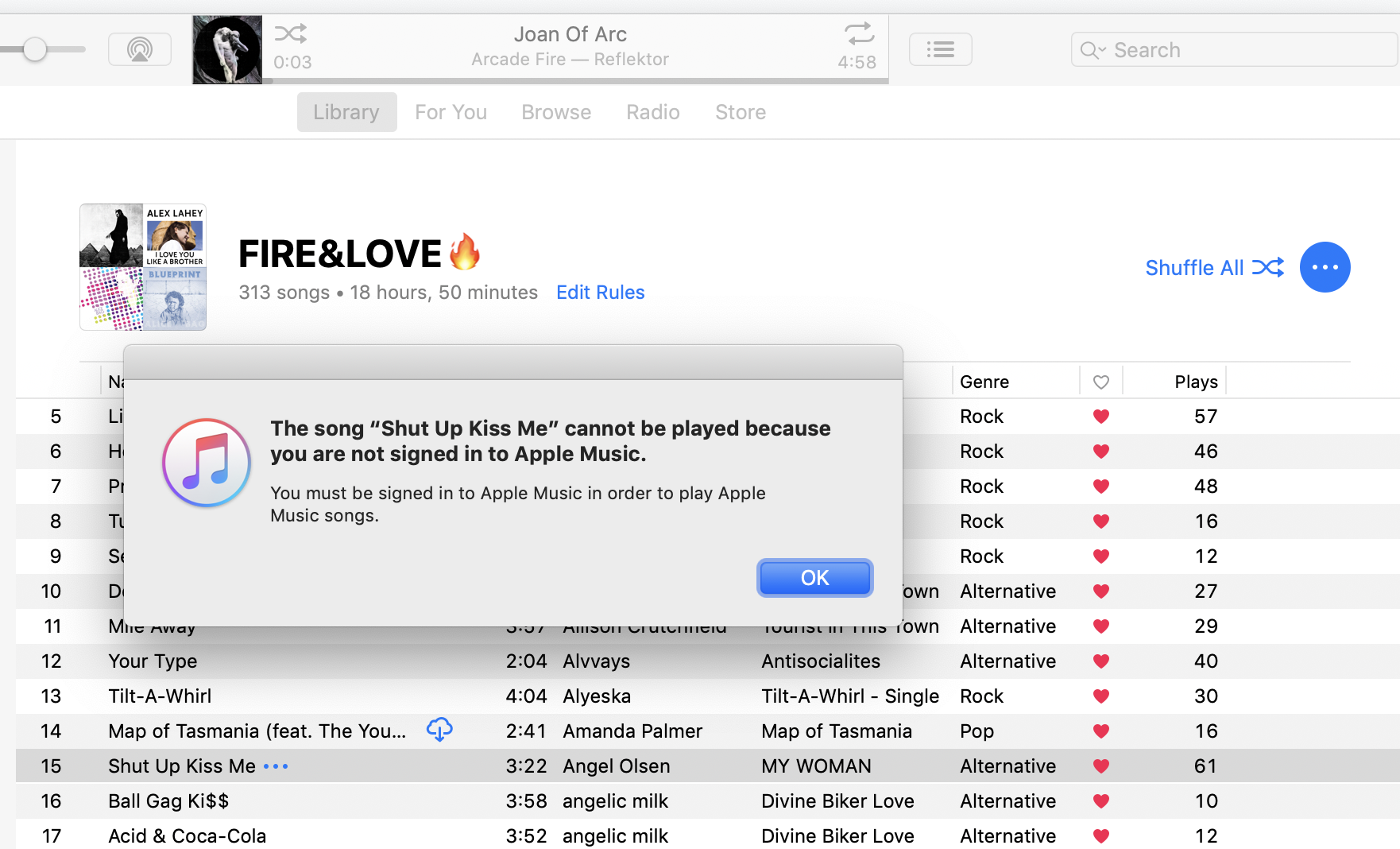 Screenshot of iTunes showing an Intelligent Playlist and an error message saying 'The song Shut Up, Kiss Me cannot be played because you are not signed in Apple Music'