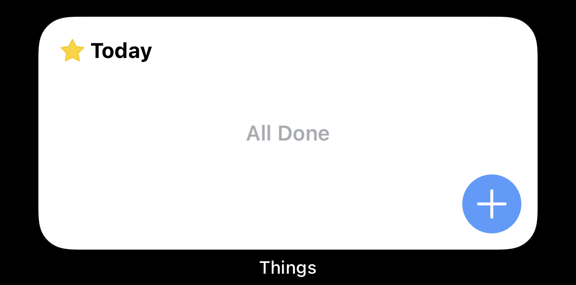 Things widget on iOS showing All Done
